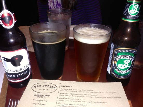 Duck Head milk stout and a Brooklyn lager.