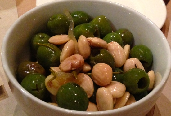 Olives and almonds.  Simple and delicious.