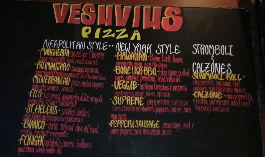 A sampling of the pizzas you can order.
