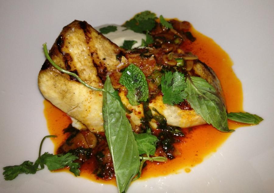 Swordfish poached in duck fat.