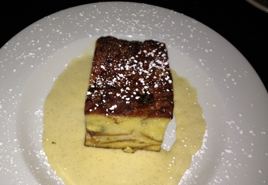 Bread pudding with creme anglais.