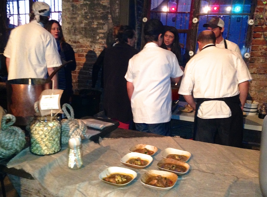 Chefs from The Optimist discuss the gumbo.