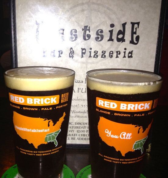 Bells Best Brown, served in Red Brick glasses.
