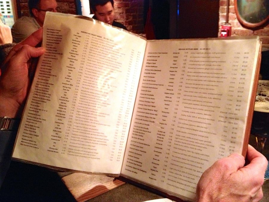 The beer menu reads like a book, probably because it is a book.