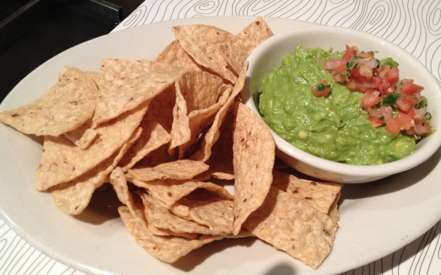 Yummy guac and chips.