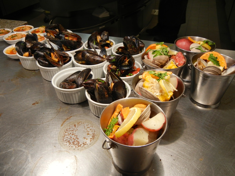 Low country boil, mussels and shrimp.