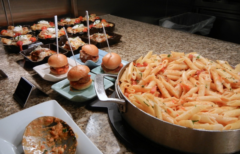 Baked ziti, meatball sliders, and lasagne.