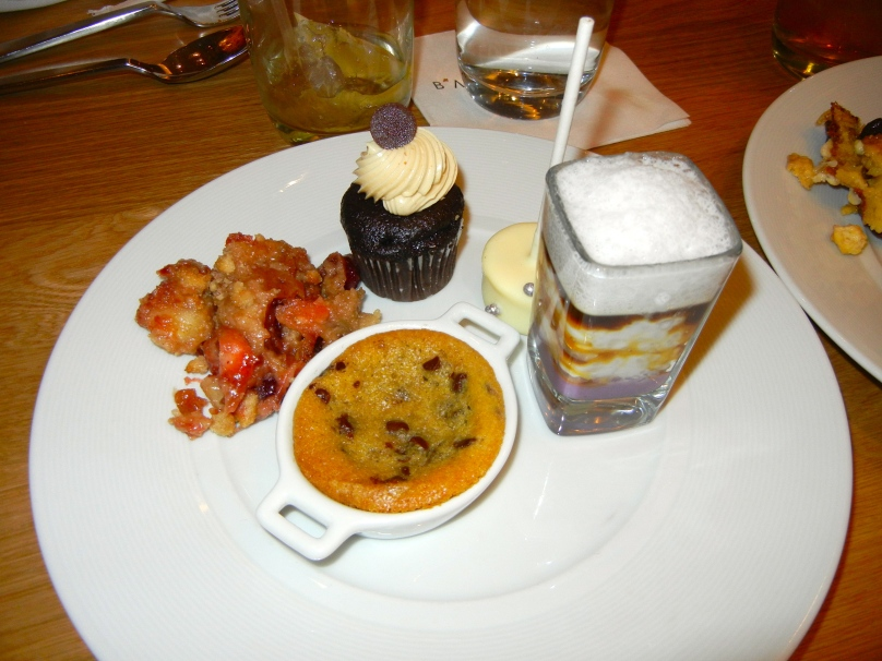 Dessert sampler:  tiramisu, hot cookie, apple-cherry cobbler and a cheesecake lollipop.