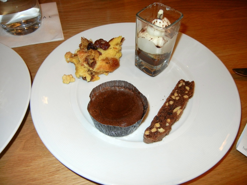 Hot lava cake, tiramisu, cherry bread pudding, biscotti.