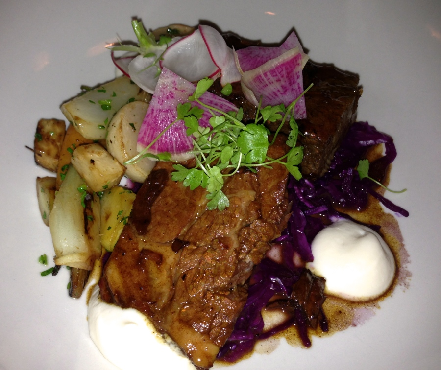 "Moist and delicious short ribs with cauliflower ""foam""."