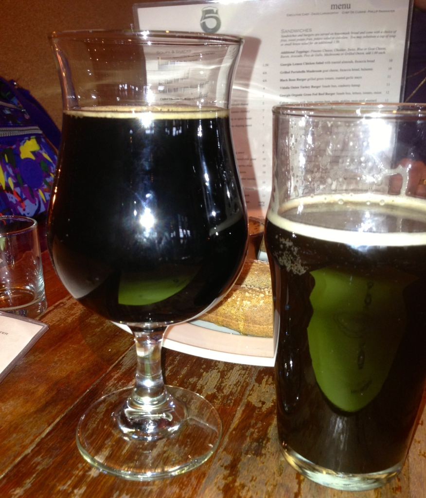 Imperial stout and a cask porter.