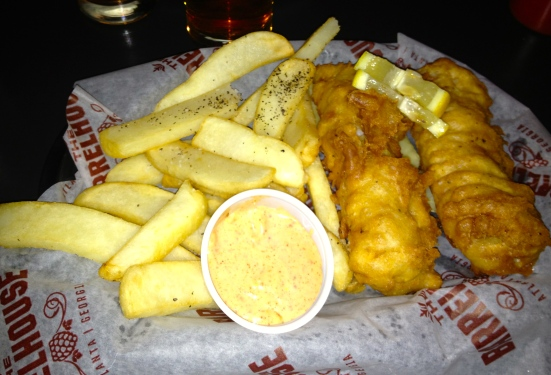 Fish and chips.  Very British.