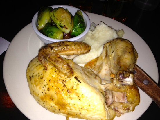 Baked chicken with mash and Brussels.