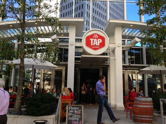 The Tap patio has a view of Peachtree.