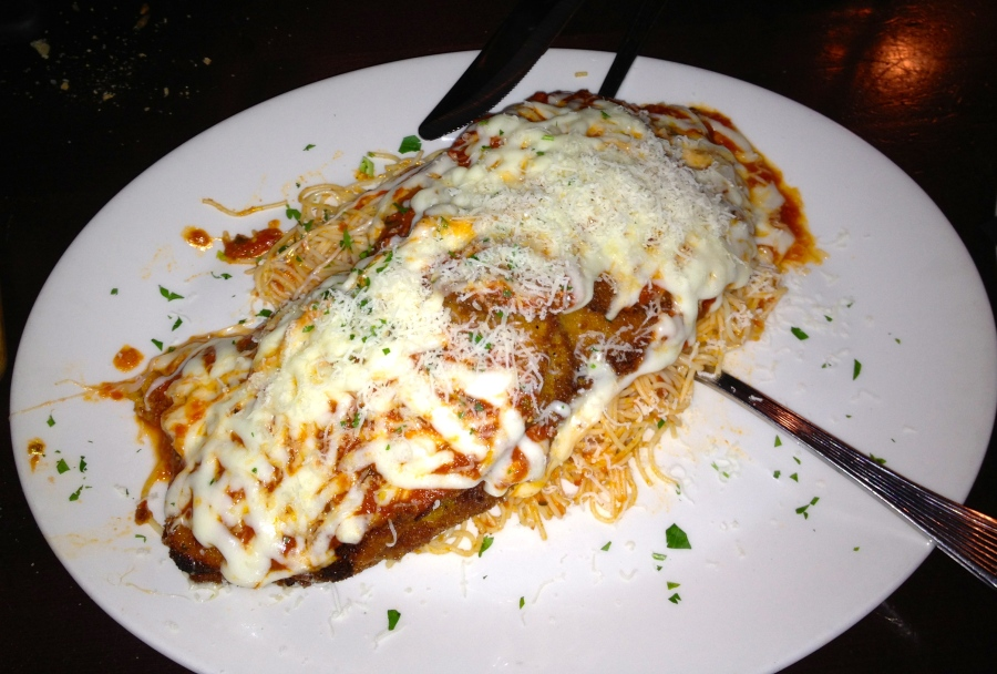 Eggplant parmesan.  Enough for 4 people!