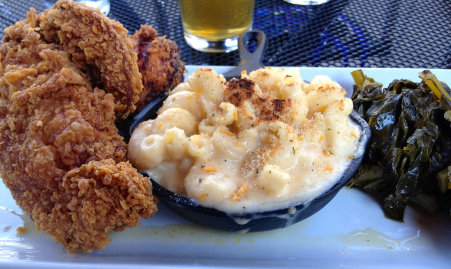 Fried chicken, mac and cheese, and greens.  Southern comfort food.