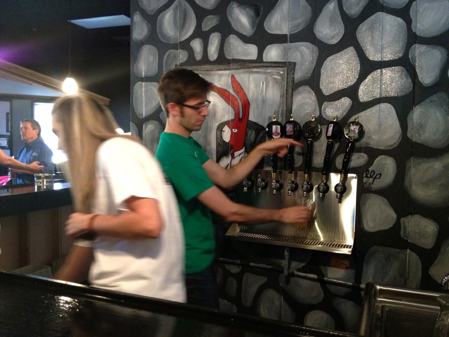 Volunteers pour our beers.