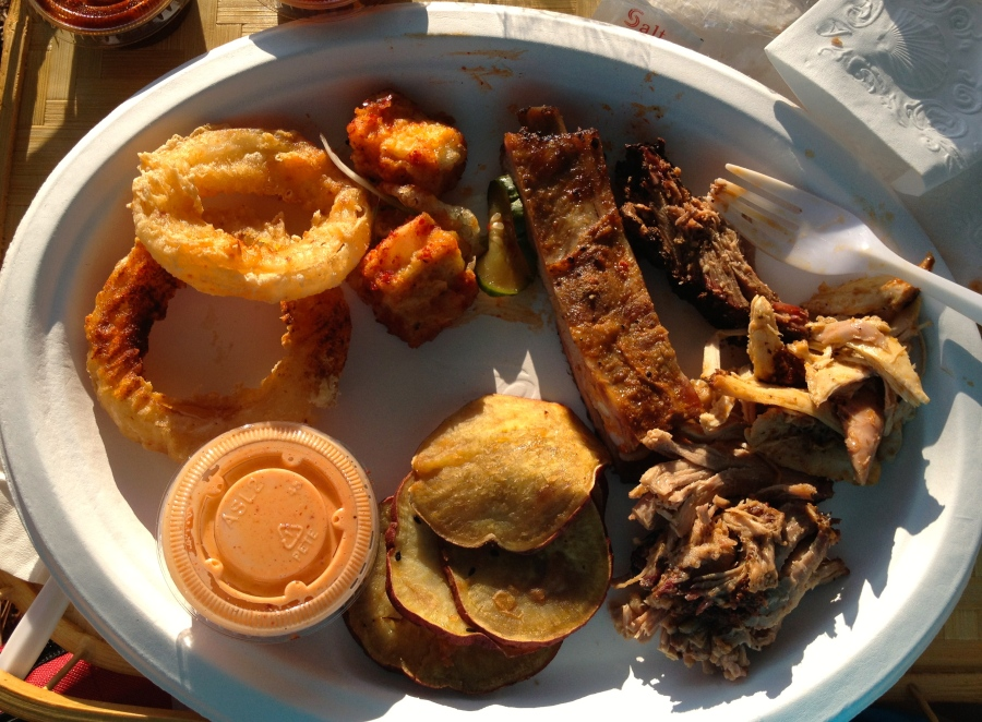 Check out the good BBQ on this plate!