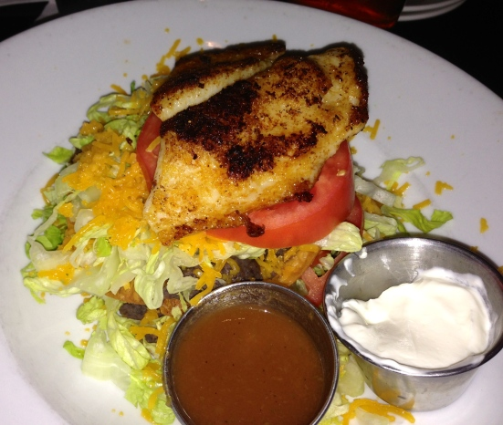 Grouper salad with a small piece of grouper.